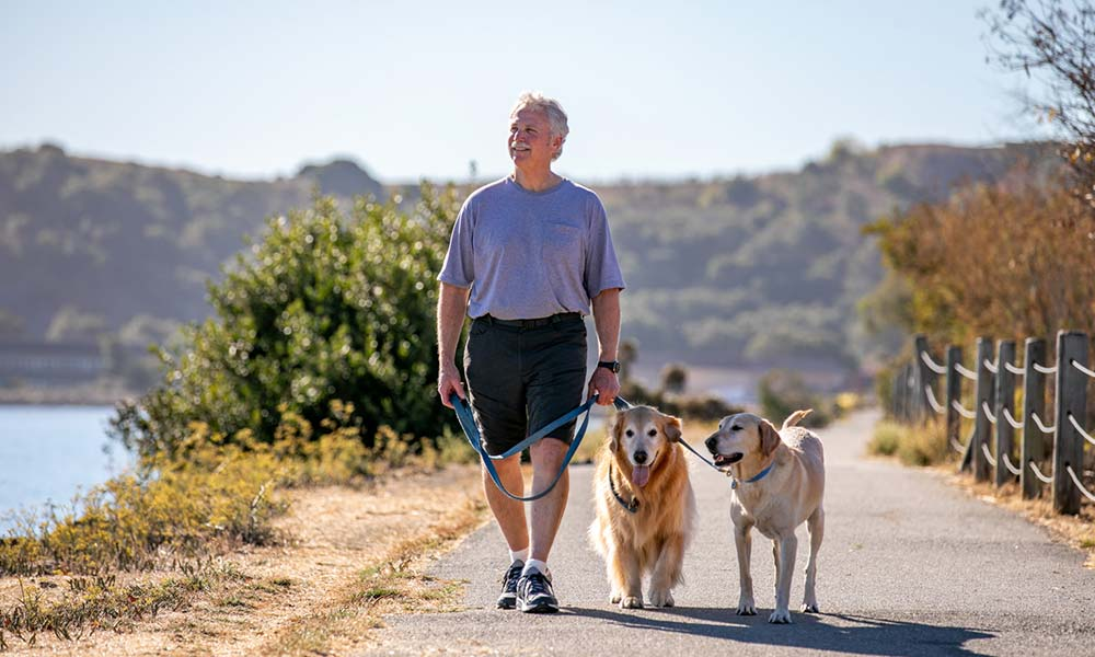 John walking two dogs on a walking trail by a lake and mountains